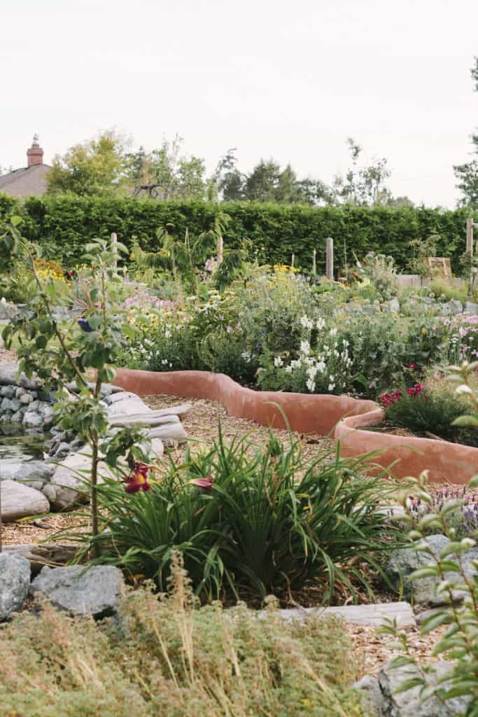 Whimsical curvy raised beds with flowers and food.