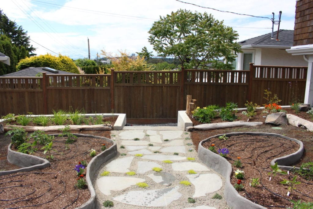 Ferro-cement raised beds for annual vegetables (in the shape of a pollinator).