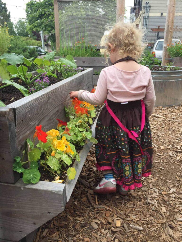 Flora in the Nourish Kitchen Garden.