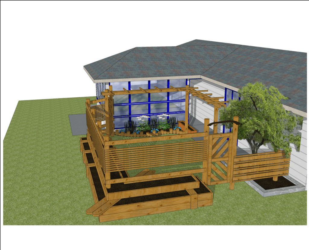 Sketchup render of one of our raised bed garden rooms!